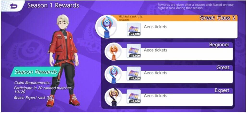 Pokemon Unite Season Rewards