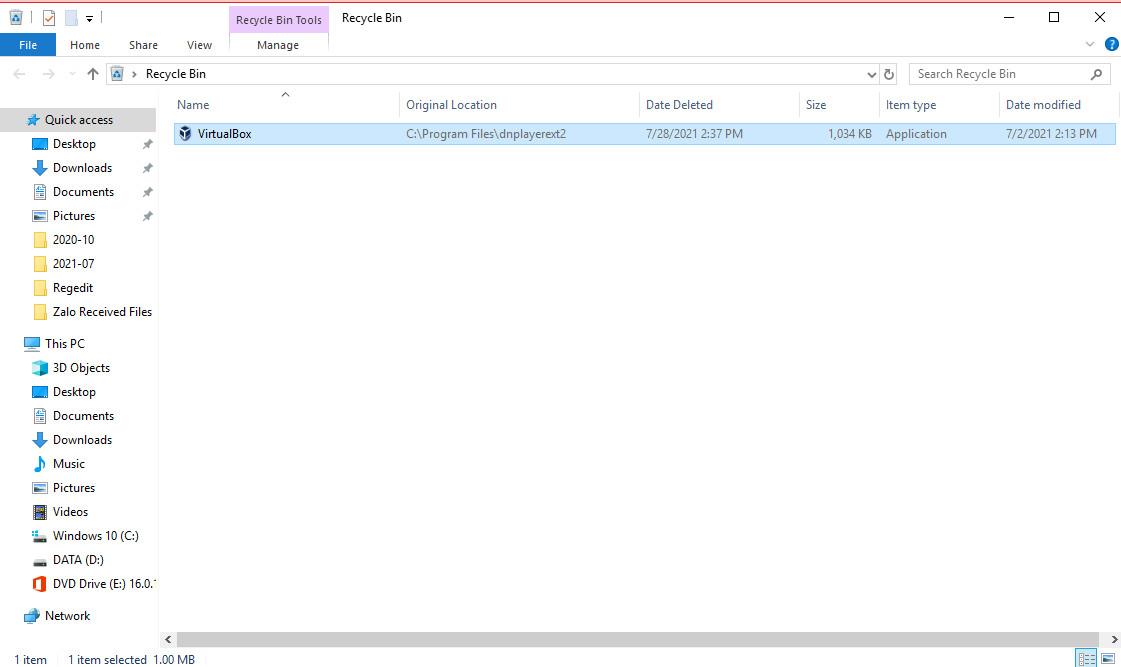 Nhắc giải pháp VirtualBox không tương thích khi phiên bản Windows 10 được cập nhật